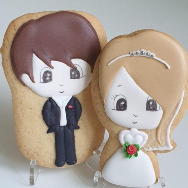 Ciasteczka ślubne Pan Młody Pani Młoda, podziękowania dla gości na ślub, podziękowania na ślub, lukrowane ciasteczka - Basia sweets
