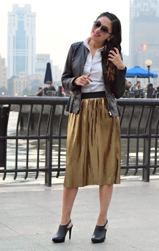 gold-pleated-skirts-and-leather-jackets