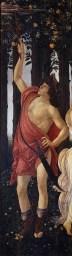 botticelli Ancora più a sinistra si nota Mercurio, il messaggero degli dèi, raffigurato con le ali ai piedi, che col caduceo scaccia le nubi per conservare un_eterna primavera.