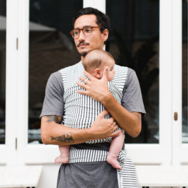 écharpe de portage pour papa stretch élastique coton bio baby on earth