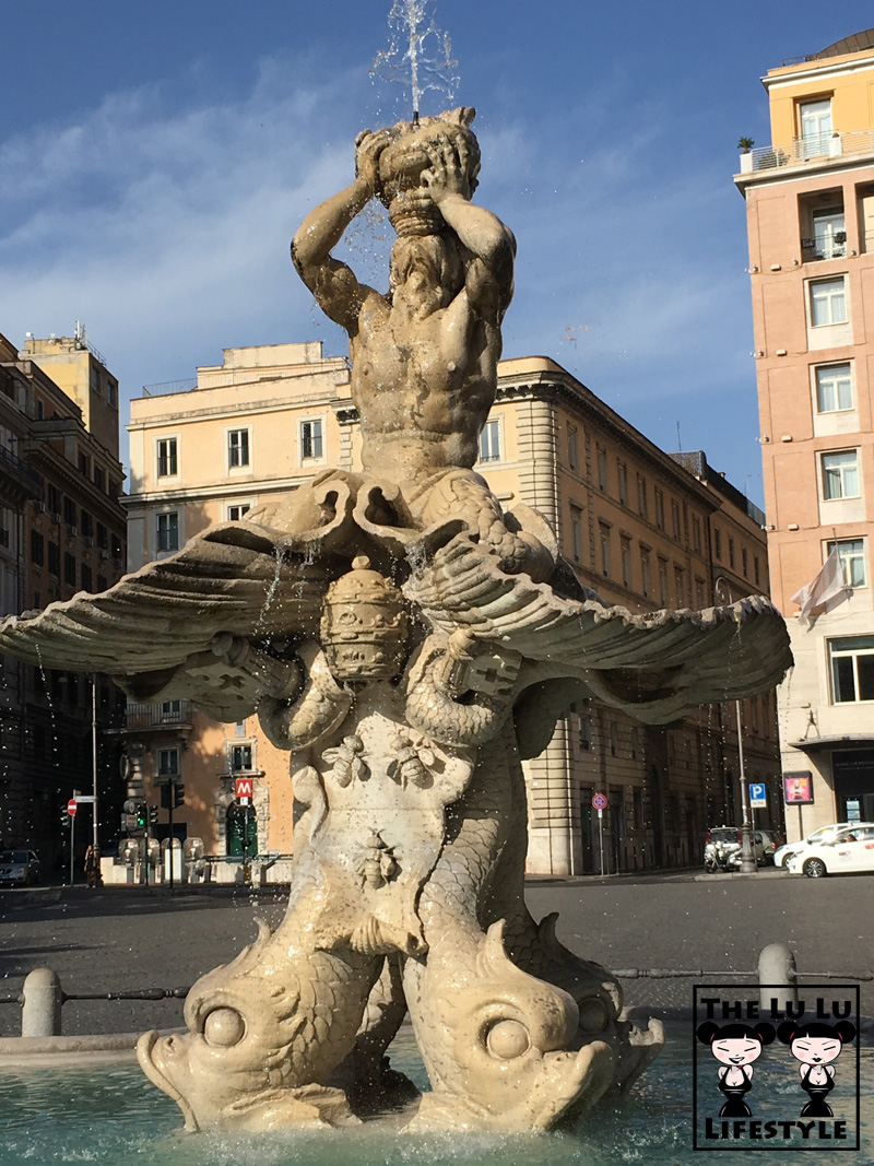 Triton Fountain on Piazza Barberini Rome Italy