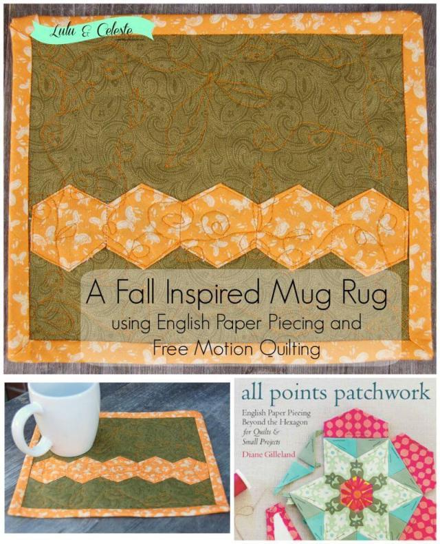Fall inspired mug rug using EPP and FMQ