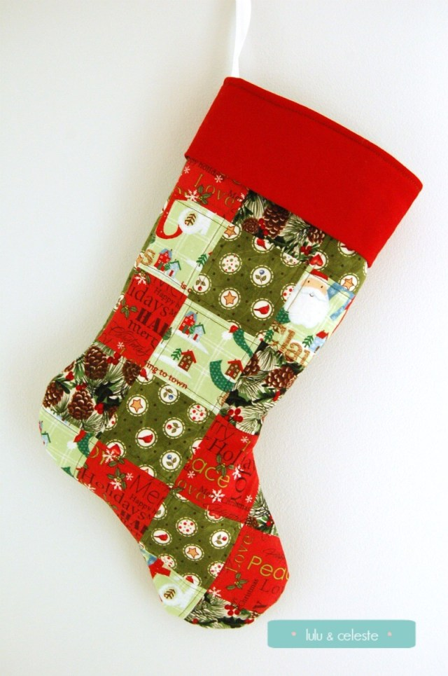 Patchwork Christmas Stocking Front