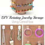 DIY rotating jewelry storage using cereal box