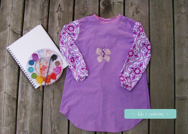 Painting smock with Butterfly applique