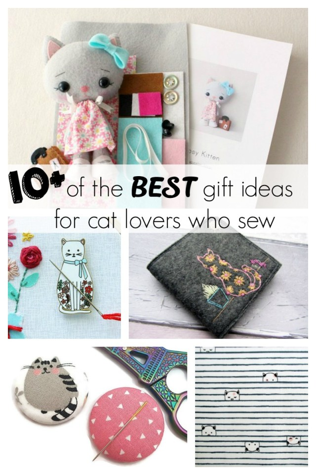 Gift guide for your friend who loves cats and loves to sew.