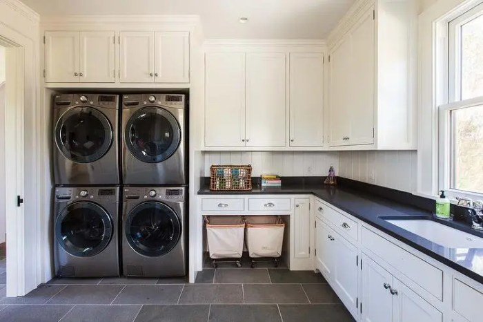 cottage-laundry-room-2-sets-of-stacked-washers-dryers-vintage-carts