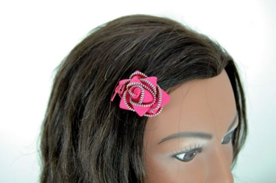 Upcycled Zipper Flower Hair Clip