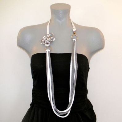 Upcycled Zipper T-Shirt Necklace