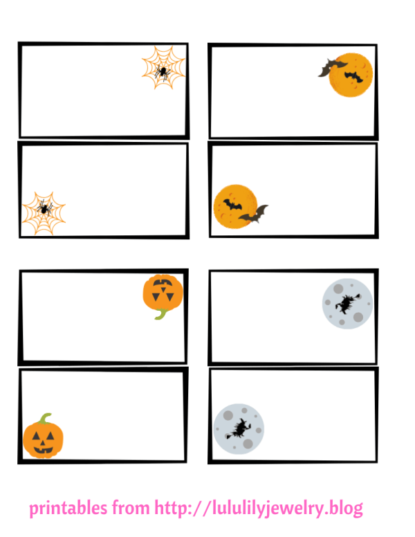 Halloween Set of 4 printable place cards