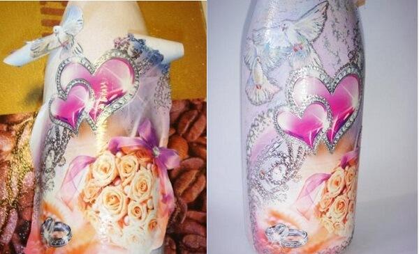 слева - этап приклеивания открытки, справа - окончательный вариант декора