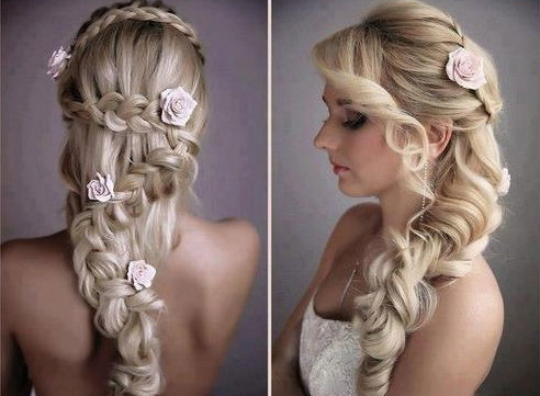 Красивое плетение свадебной французской косы