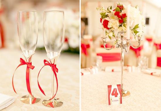 красный декор для свадебного банкета
