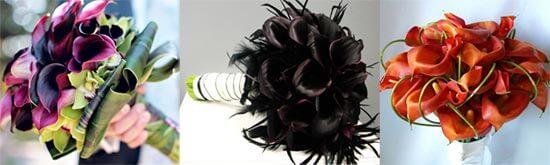 свадебные букеты из калл темного цвета