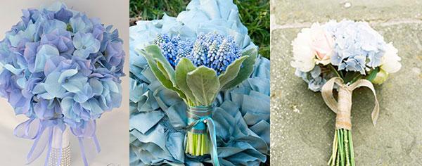 Свадебные букеты голубые