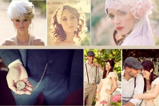невеста и жених в винтажном стиле