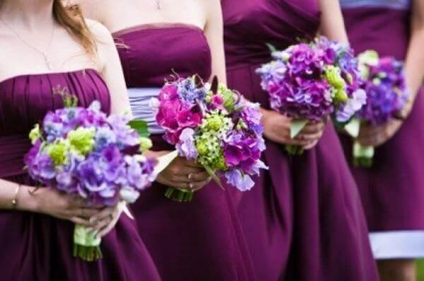 Свадебный фиолетовый букет
