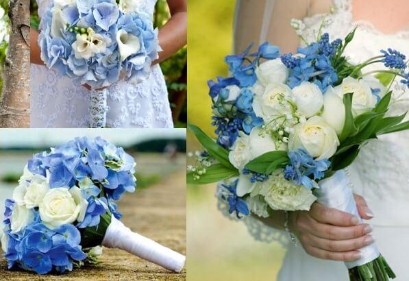 сочетание белого и голубого в букете