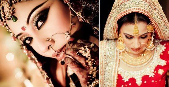 Индийская невеста с сережкой в ухе