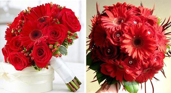 Букет невесты из красных гербер