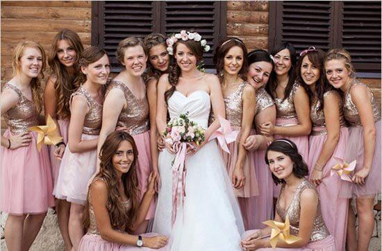 Сиреневые платья подружек невесты