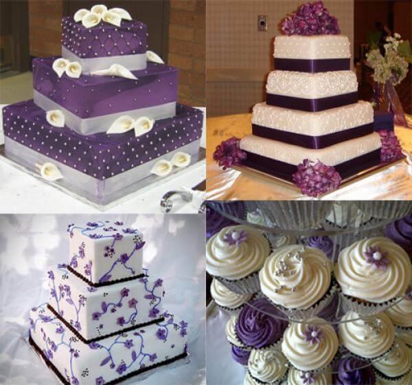 Фиолетовые свадебные торты