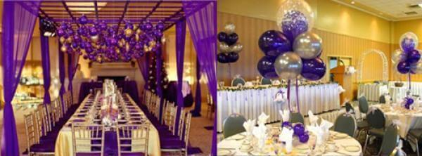 Украшение стен фиолетовым цветом