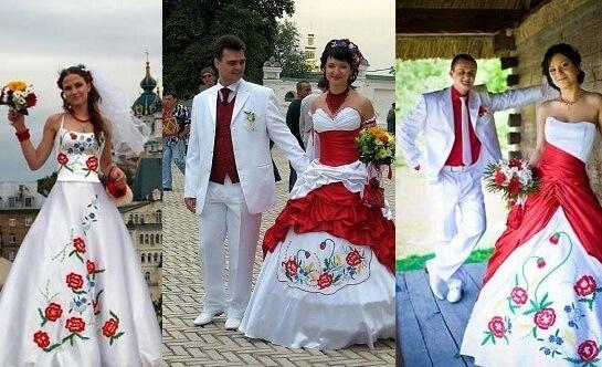 Платья свадебные с красными цветами