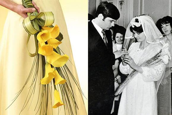 свадебный букет из желтых калл