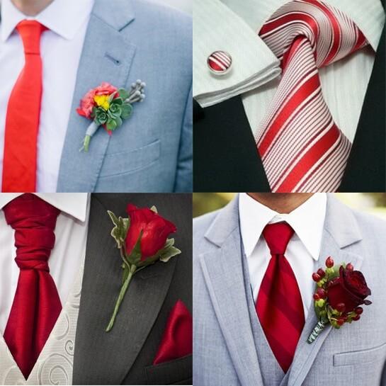 Наряд жениха для свадьбы в красном стиле