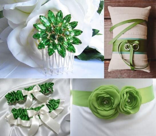 Идеи для свадьбы в зеленом стиле - аксессуары