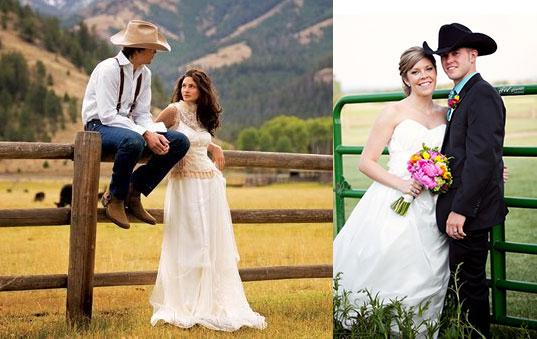 Наряд невесты и жениха в ковбойском стиле