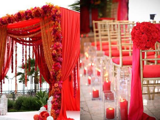 Помещение для свадьбы в красном стиле