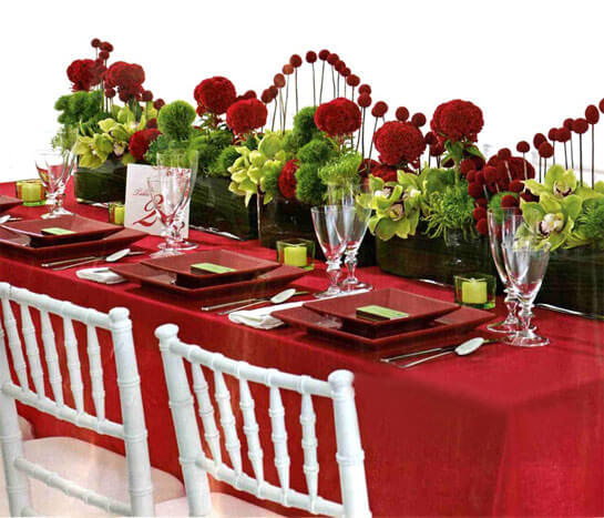 Как сервировать стол для свадьбы в красном стиле