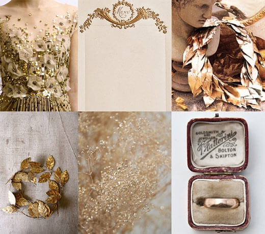Свадебная палитра в золотых тонах