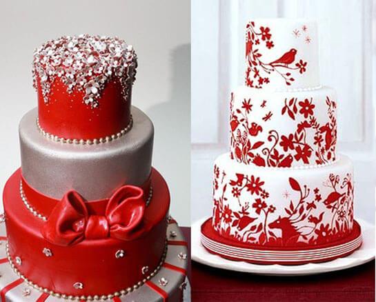 Праздничный торт для свадьбы в красном стиле