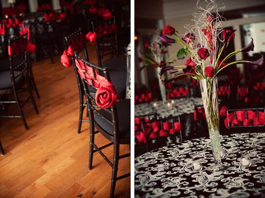 Цветовая гамма при оформлении свадьбы - красно-черно-белая