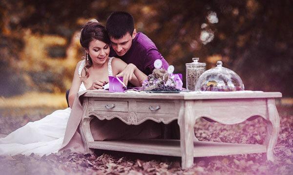 Образ жениха в фиолетовом цвете