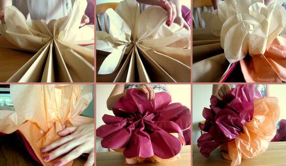 Большие цветы для украшения зала своими руками фото 949