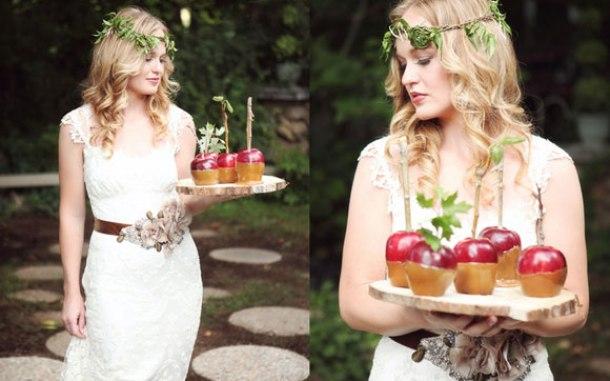 Невеста в стиле яблочной свадьбы