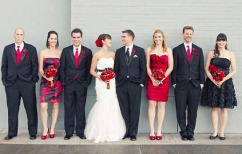 подружки невесты в красных платьях