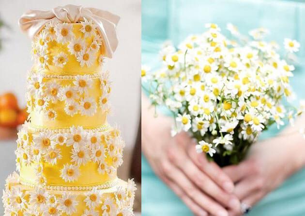 Желтый свадебный торт с ромашками
