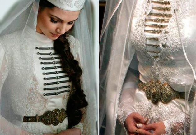 чеченская невеста в свадебном наряде