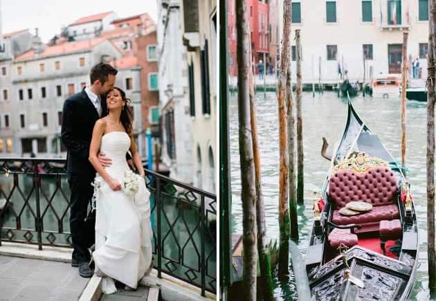 молодожены на берегу в Венеции