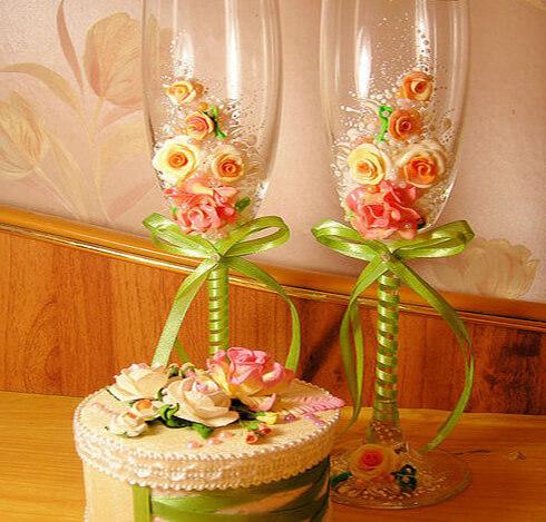 Красивые свадебные фужеры своими руками
