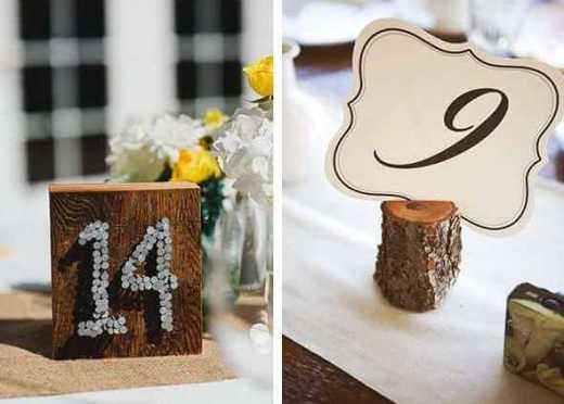 номера столов на дереве