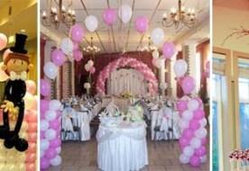 шары в украшении свадебного зала