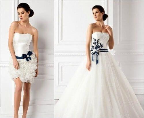 свадебные платья с синими бантами