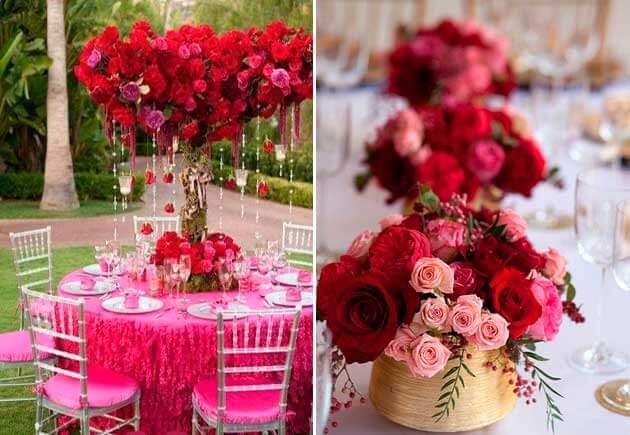 украшение из красных и розовых роз на свадьбе