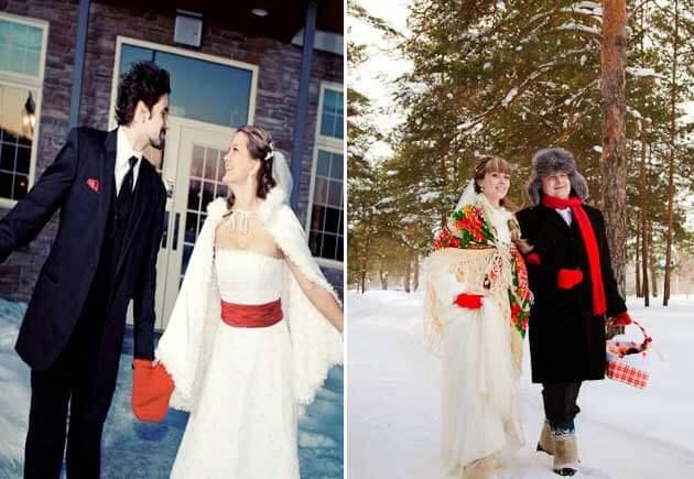молодожены на свадьбе зимней в лесу